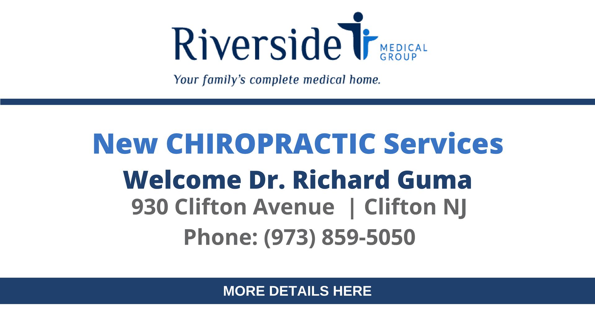Riverside Now Providing Chiropractic Services