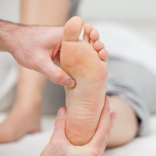 patient foot being examined